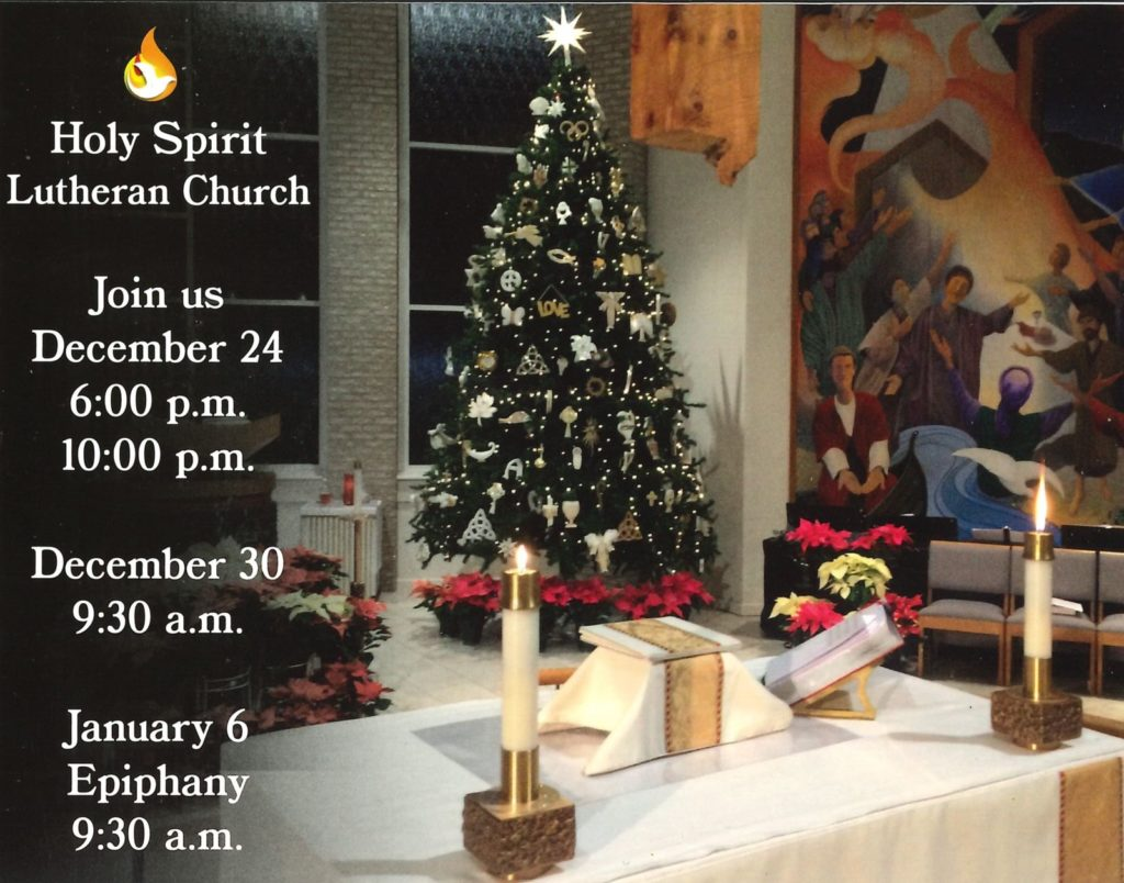 Join us December 24, 6 p.m. & 10 p.m.; December 30, 9:30 a.m.; and January 6 (Epiphany), 9:30 a.m.